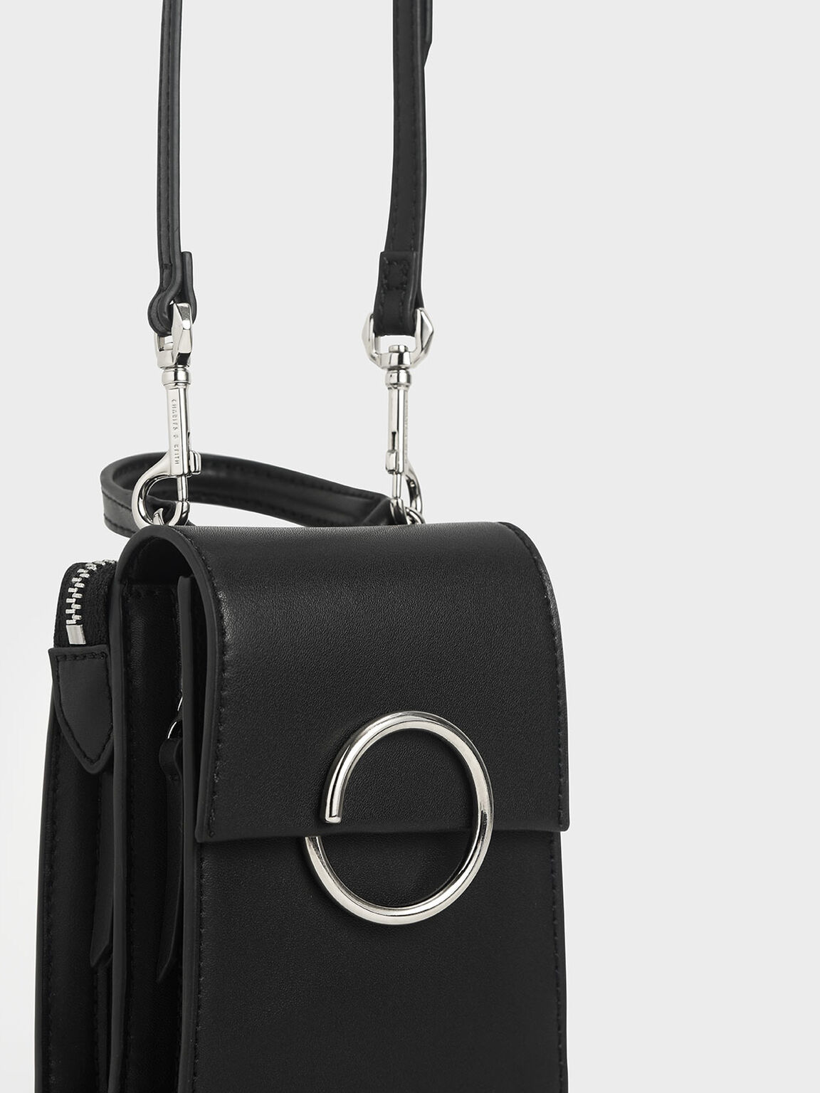 Ring Detail Elongated Bag, Black, hi-res