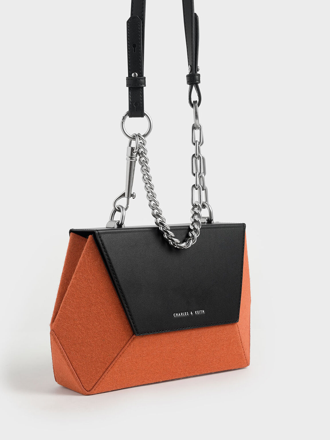Two-Tone Thin Chain Handle Hexagon Crossbody Bag, Orange, hi-res