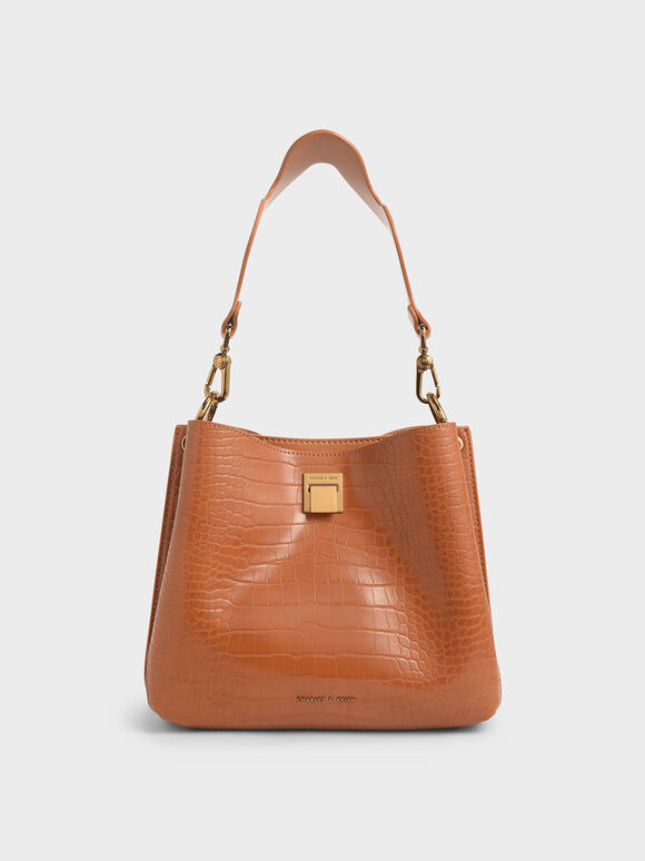 Croc-Effect Bucket Shoulder Bag, Cognac, hi-res