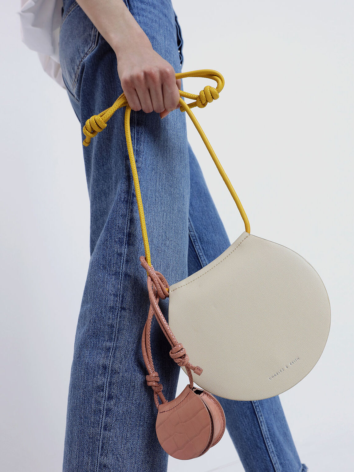 Semi Circle Crossbody Bag, White, hi-res