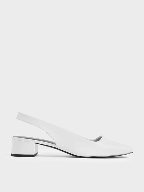 Square Toe Block Heel Slingback Pumps, White