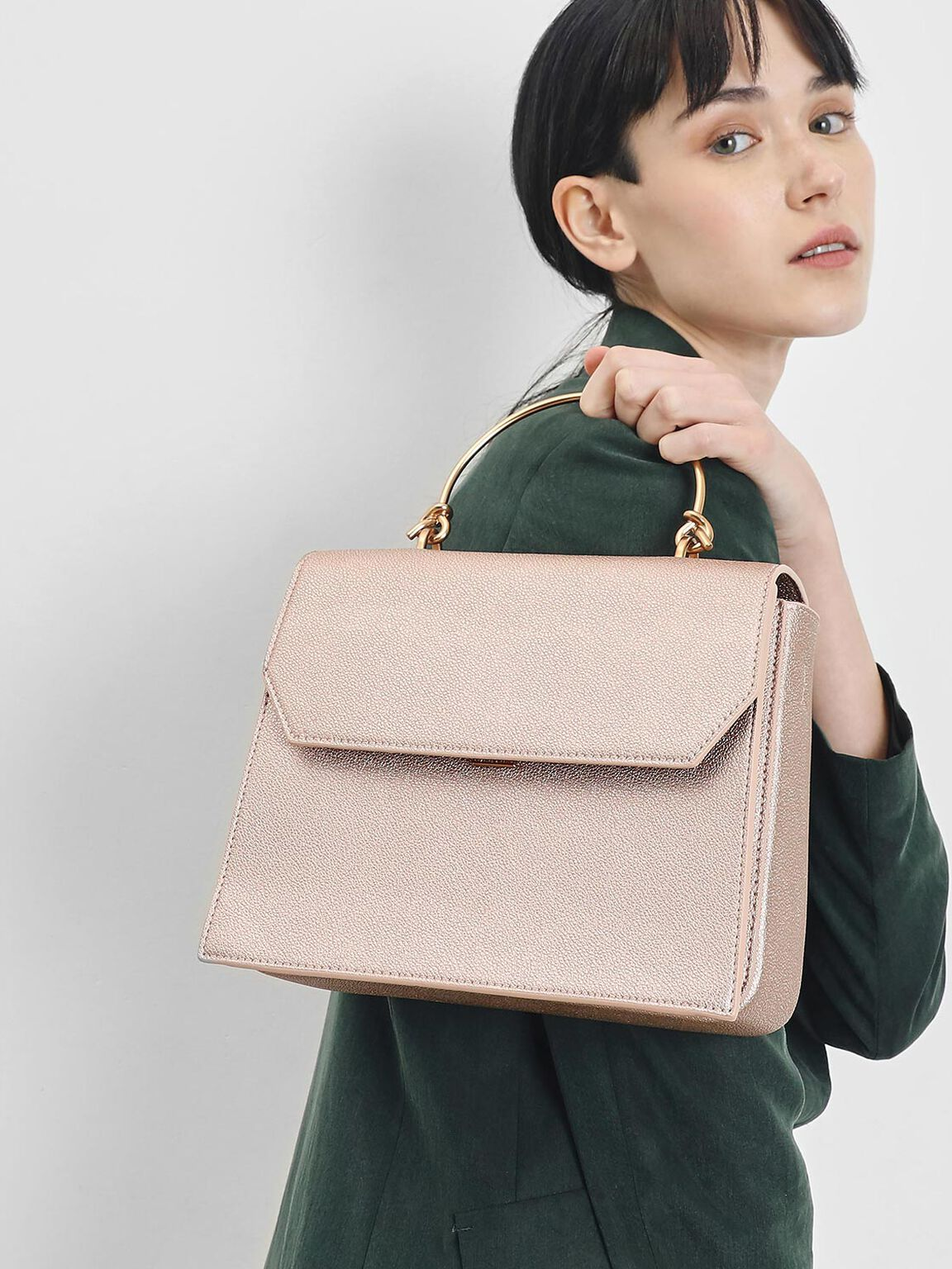Metal Top Handle Evening Bag, Rose Gold, hi-res