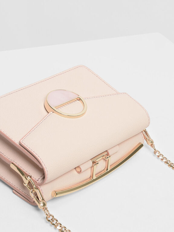 Stone Embellished Shoulder Bag, Light Pink