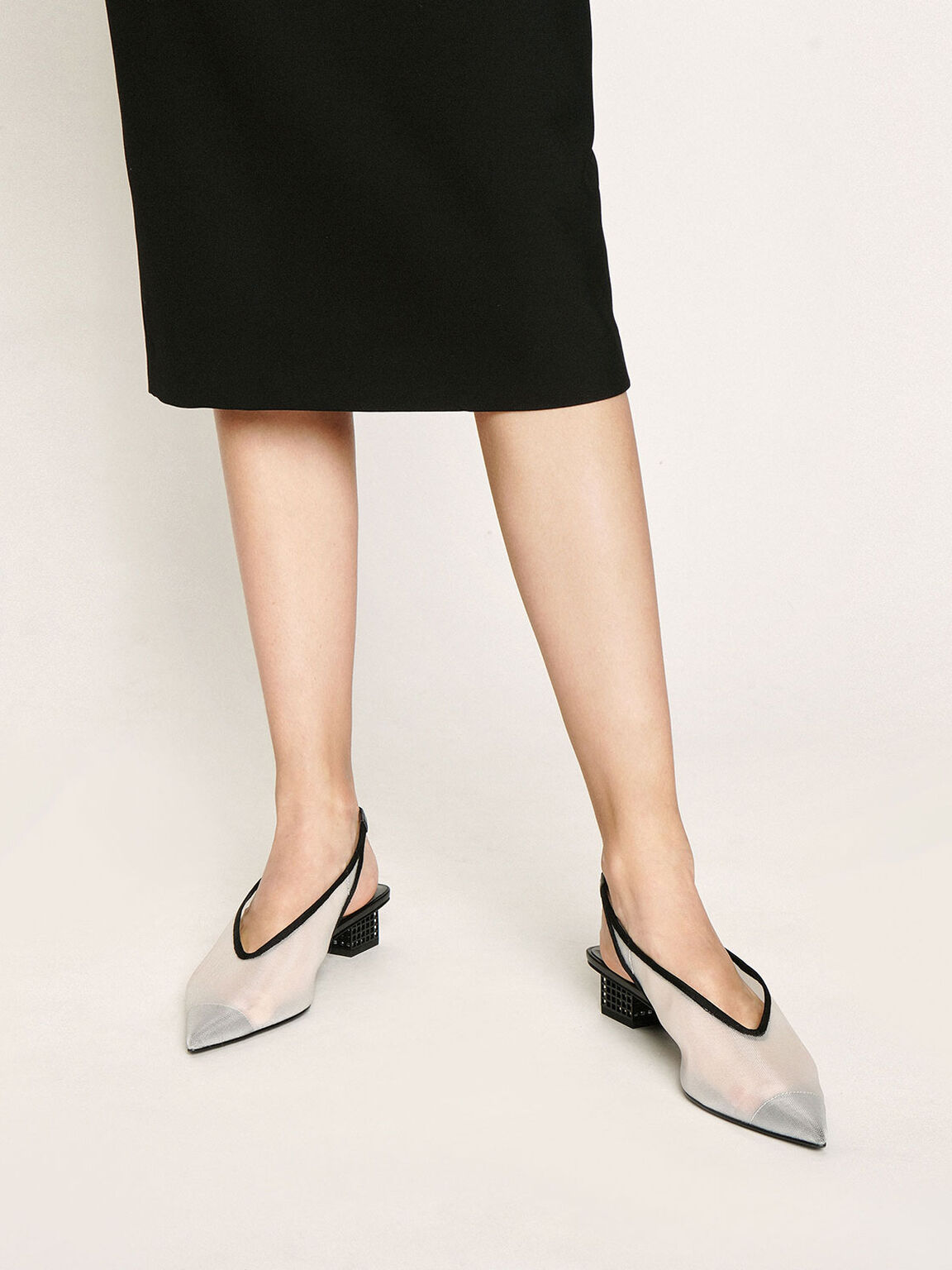 網紗尖頭粗跟鞋, 白色, hi-res