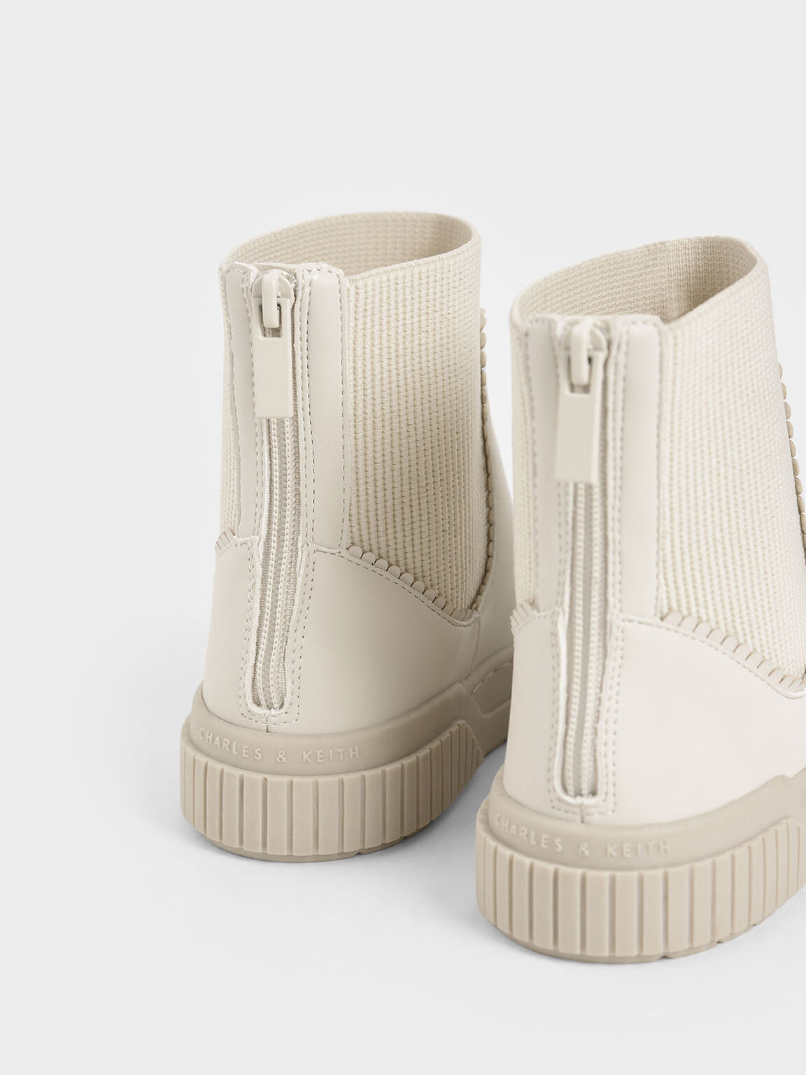 Girls' Ankle Sock Boots, Beige, hi-res