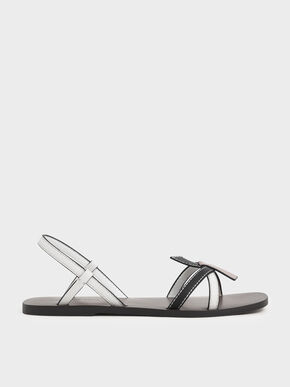 Front Knot Tie Slingback Sandals, Multi