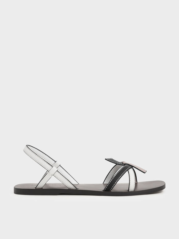 Front Knot Tie Slingback Sandals, Multi, hi-res