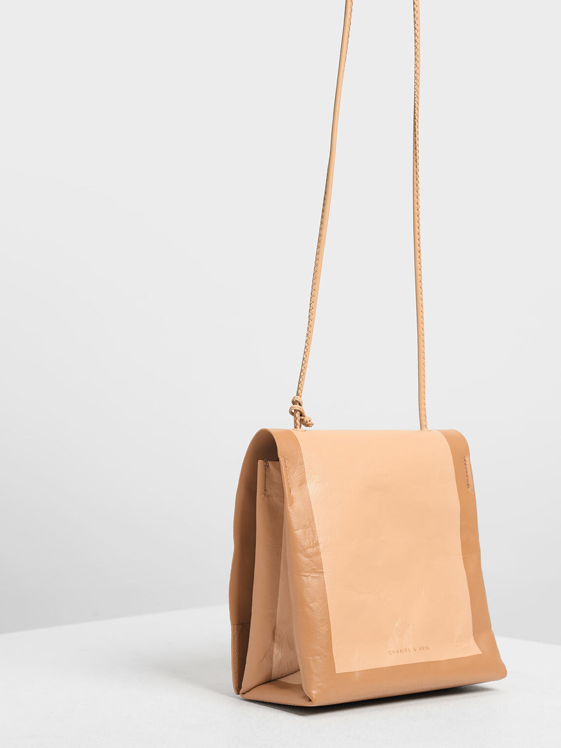 Crumpled Effect Top Handle Bag, Beige, hi-res