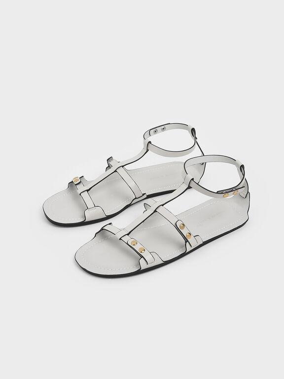 Studded Gladiator Sandals, White
