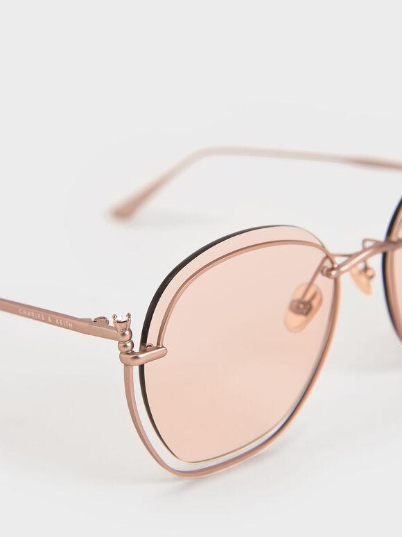 金屬透感墨鏡, 粉紅色, hi-res