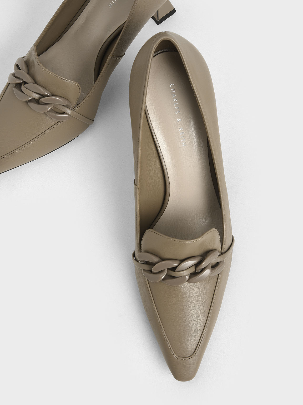 編織帶樂福跟鞋, 灰褐色, hi-res