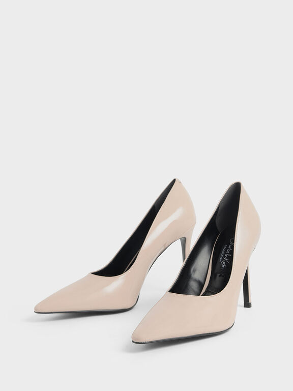Patent Leather Pointed Toe Stiletto Pumps, Nude