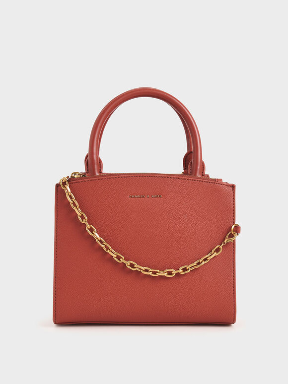 Chain-Link Top Handle Bag, Clay, hi-res