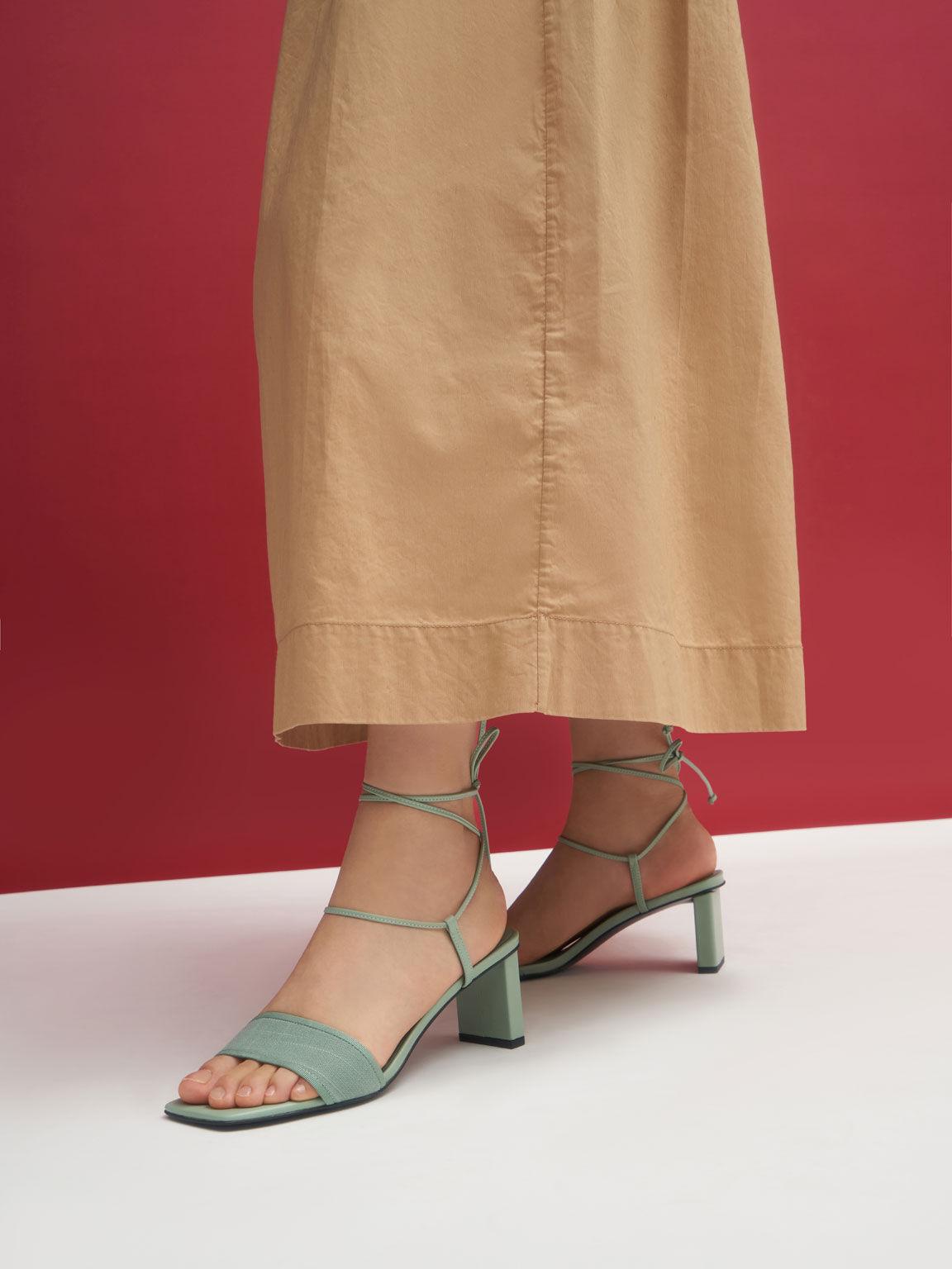 Linen Tie-Around Sandals, Sage Green, hi-res