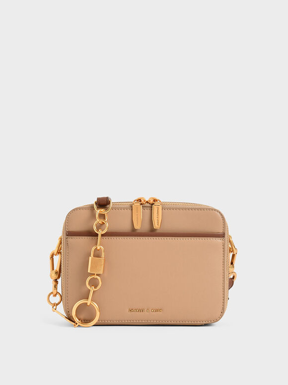 Double Zip Crossbody Bag, Beige, hi-res