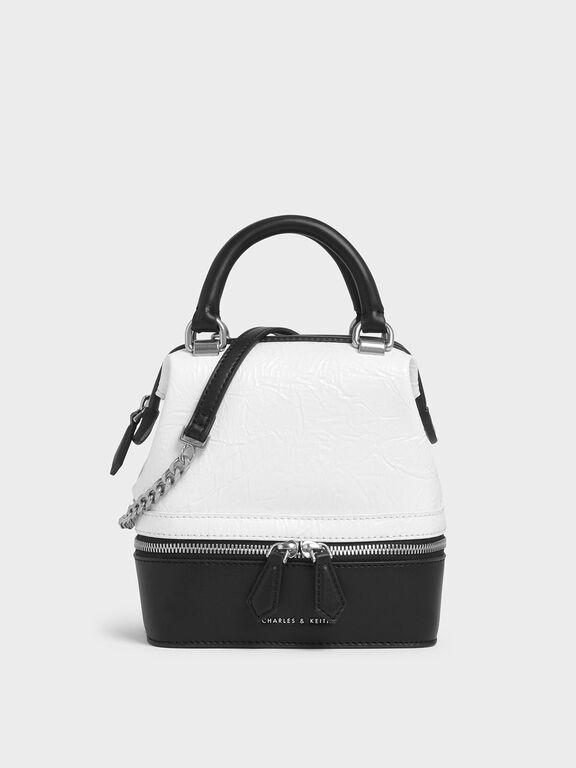 Wrinkled Effect Two-Way Zip Boxy Bag, White
