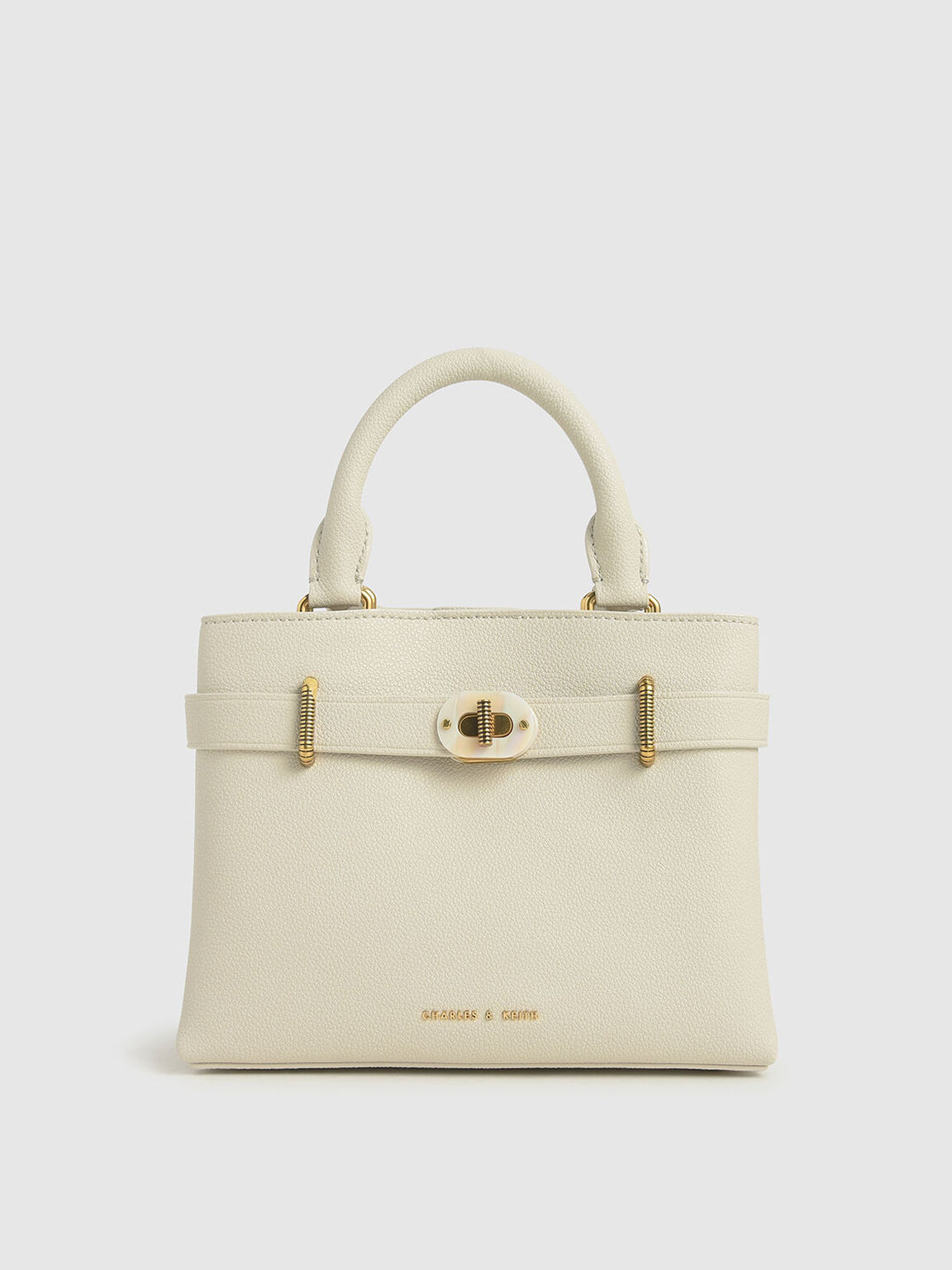 Turn-Lock Tote Bag, Cream, hi-res