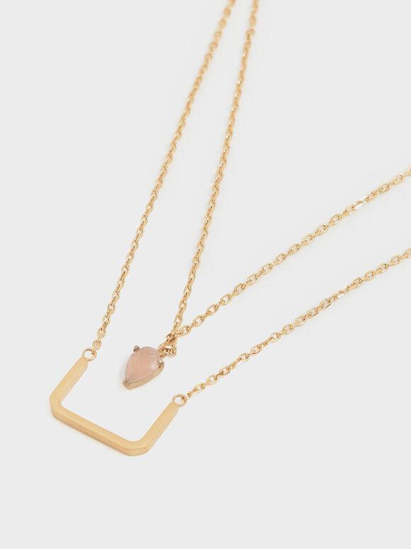 Sunstone Layered Matinee Necklace, Bronze, hi-res