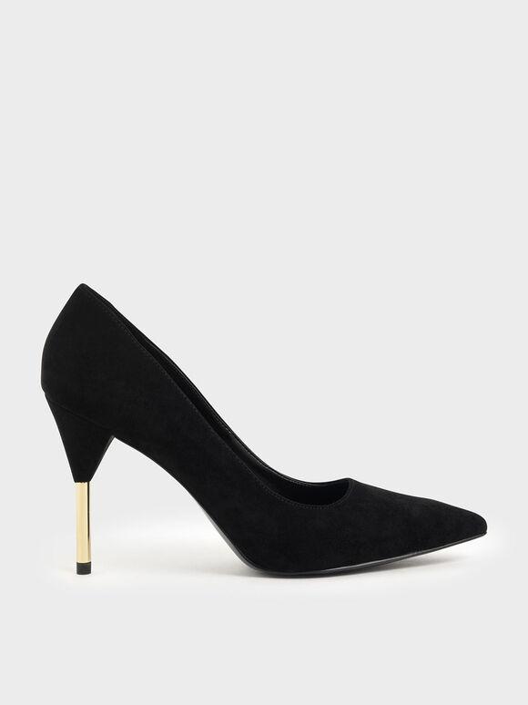 Metallic Stiletto Heel Pumps, Black Textured, hi-res