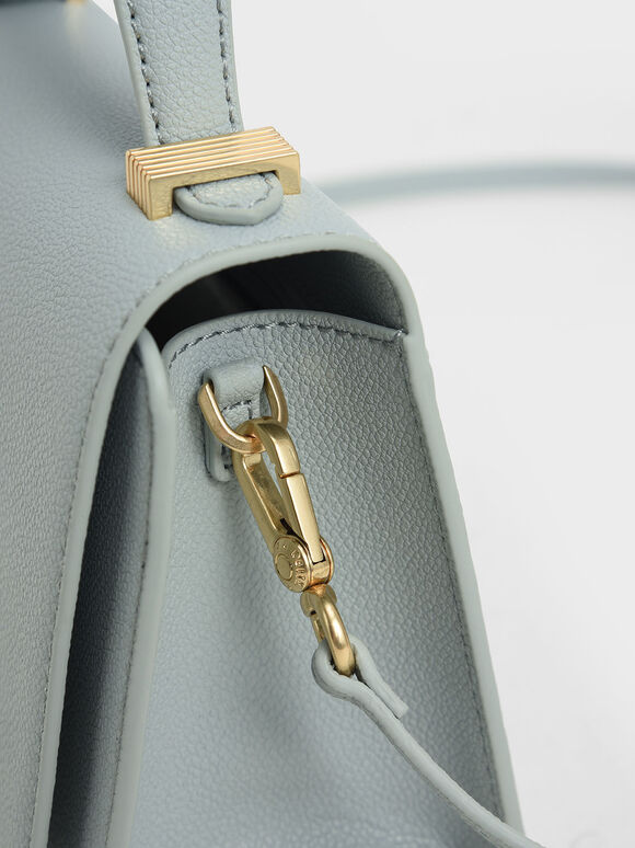 Metallic Push-Lock Top Handle Bag, Light Blue, hi-res