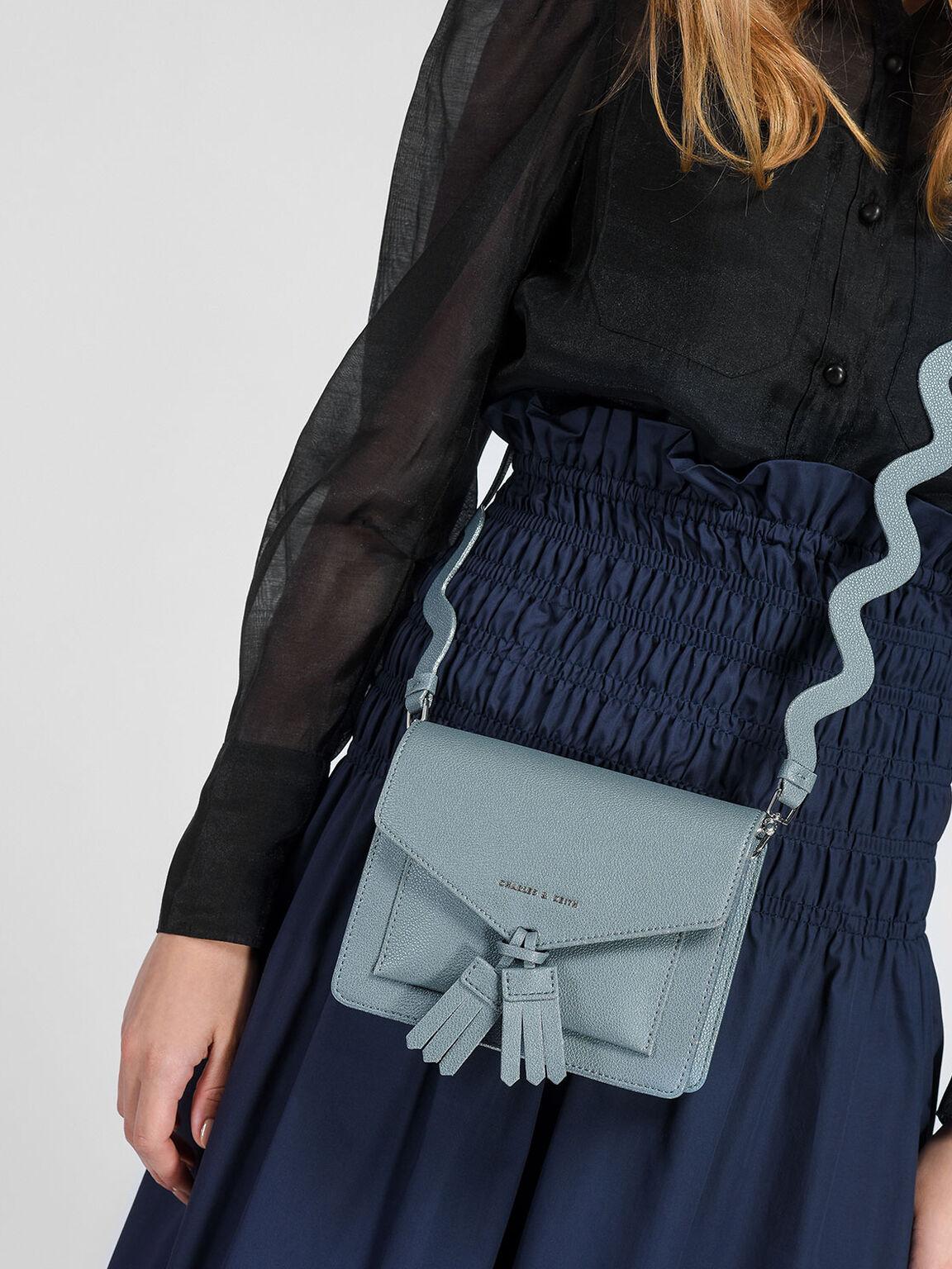 Tassel Detail Crossbody Bag, Steel Blue, hi-res