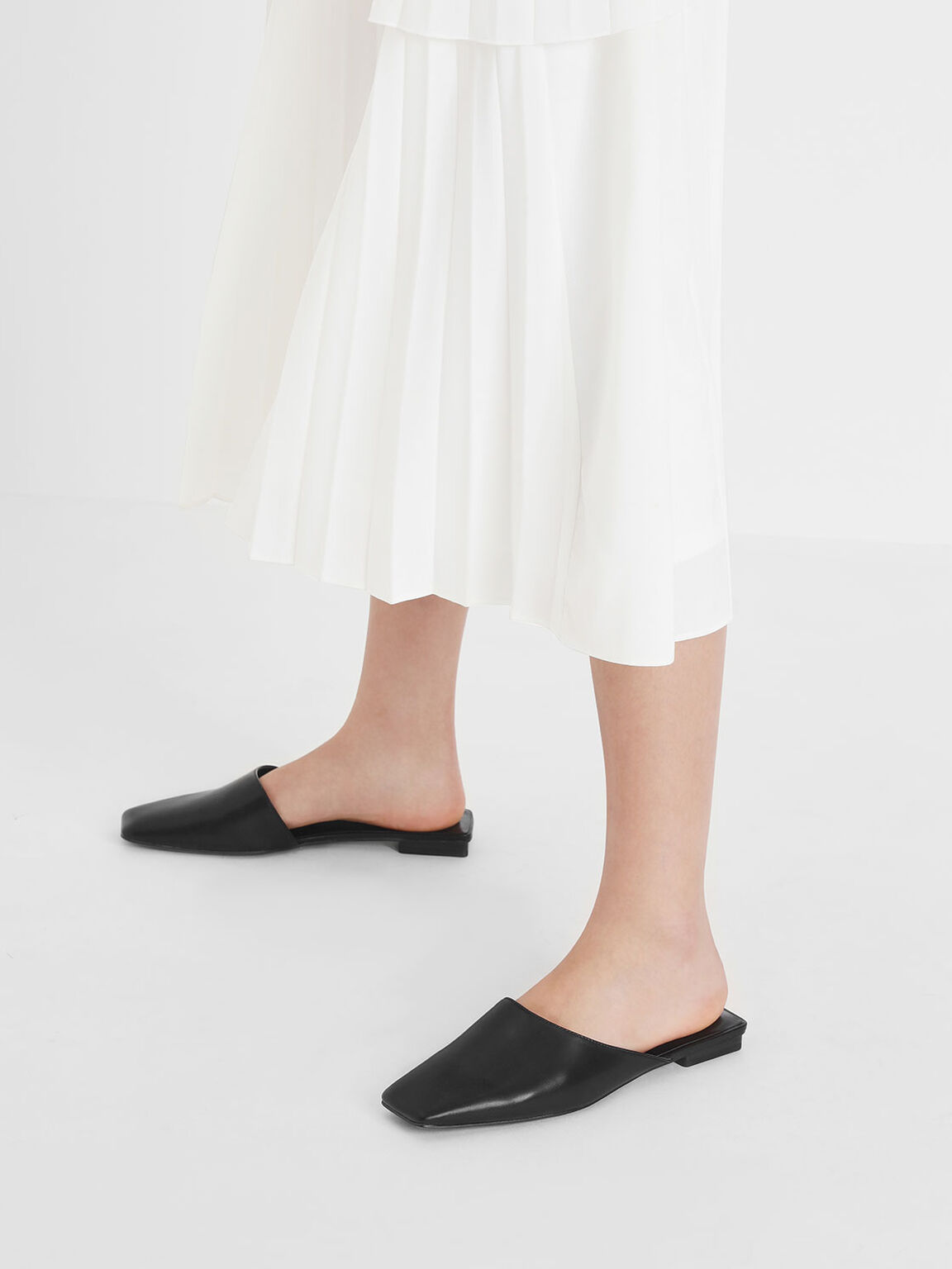 Square Toe Asymmetrical Mules, Black, hi-res
