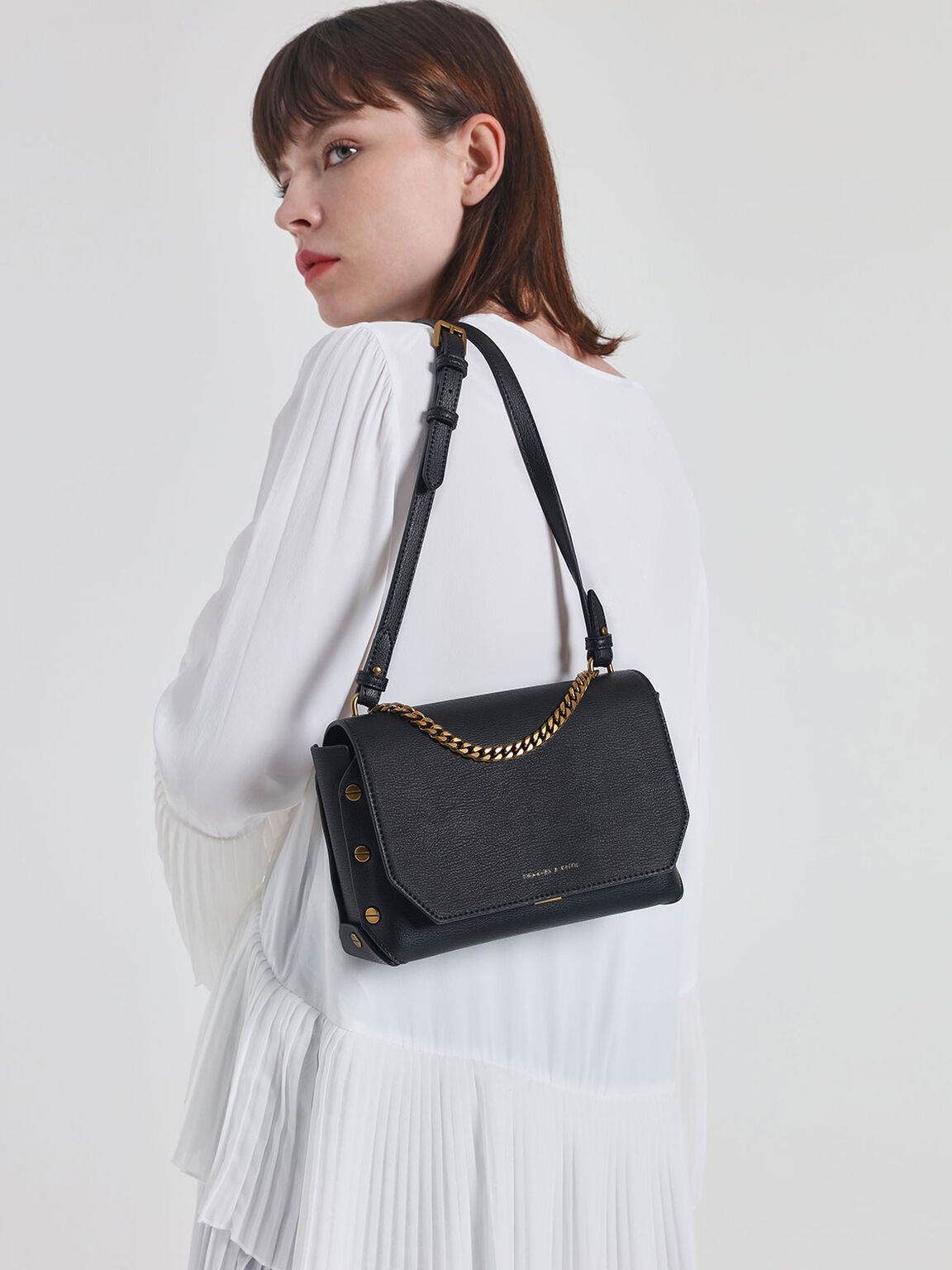 Chain Handle Shoulder Bag, Black, hi-res