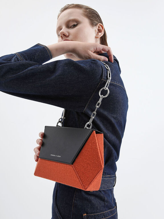 Two-Tone Thin Chain Handle Hexagon Crossbody Bag, Orange