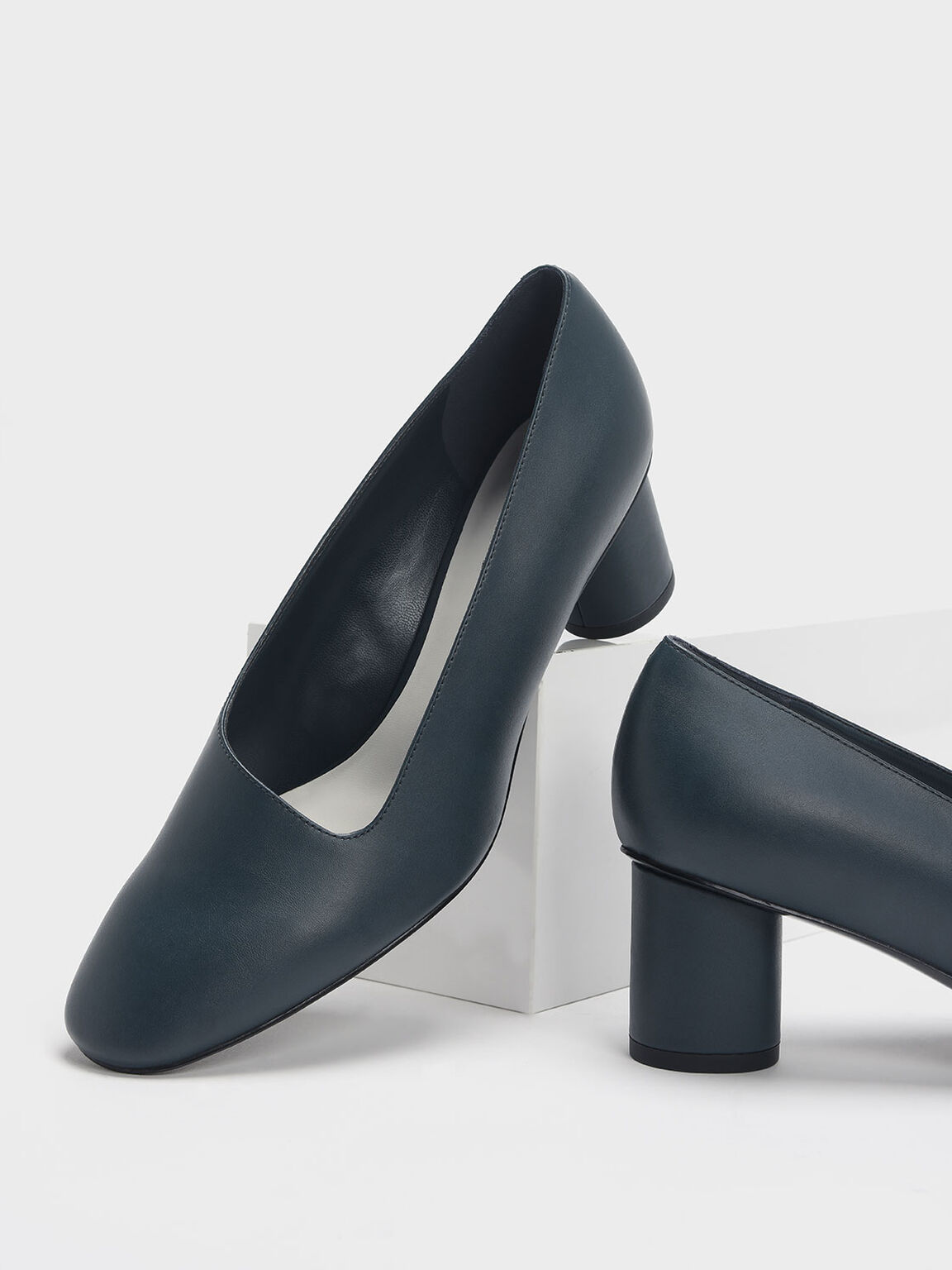Asymmetric-Cut Cylindrical Heel Pumps, Teal, hi-res