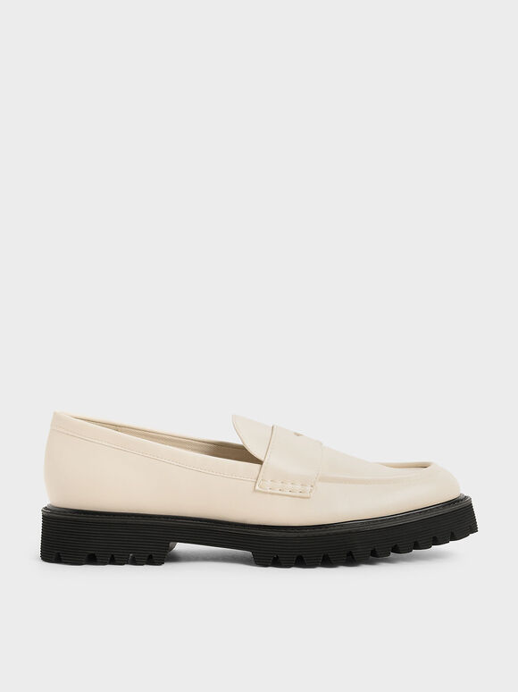 Chunky Penny Loafers, Chalk, hi-res
