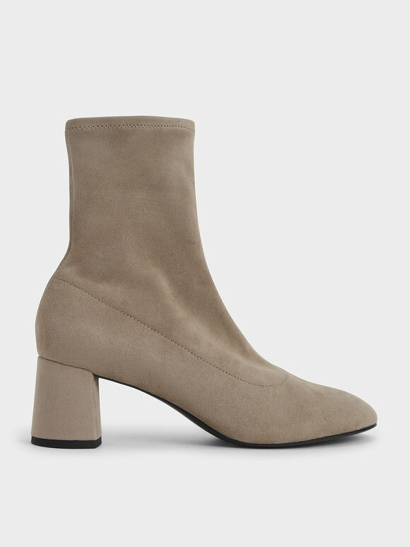 Textured Sculptural Heel Ankle Boots, Taupe, hi-res