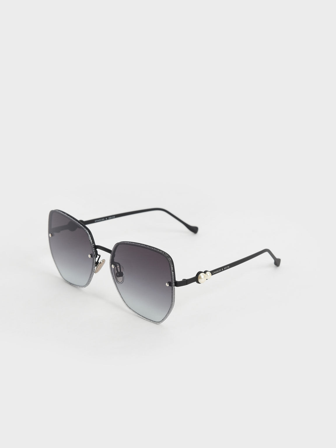Embellished Tinted Butterfly Sunglasses, Black, hi-res