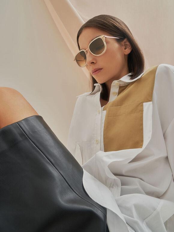 Oval Sunglasses, Cream, hi-res