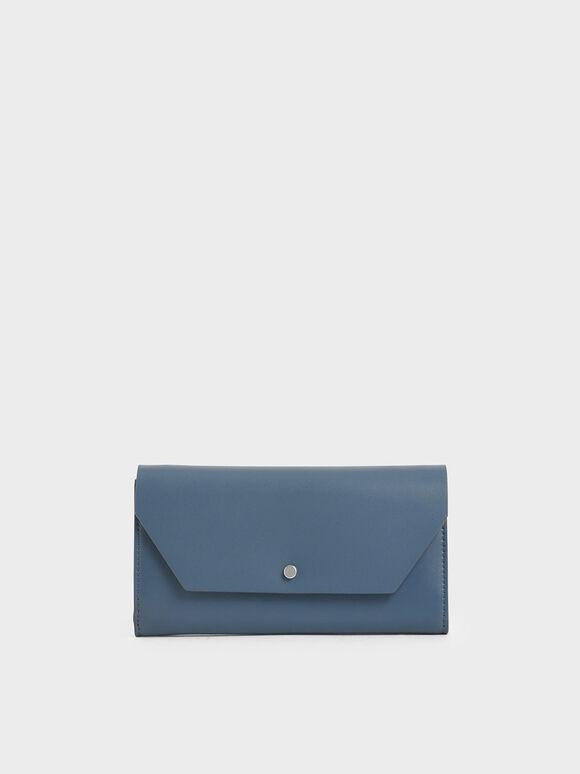 Reversible Front Flap Mini Long Wallet, Blue, hi-res