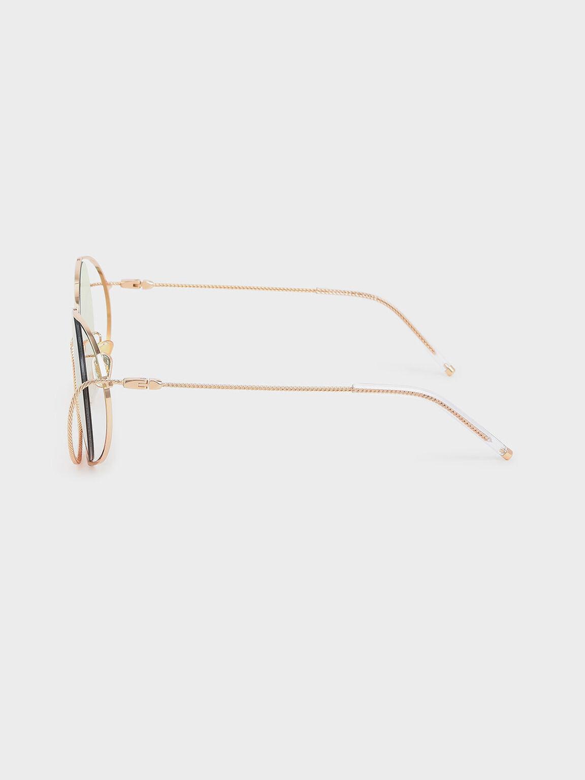 Double Rim Tinted Round Sunglasses, Multi, hi-res