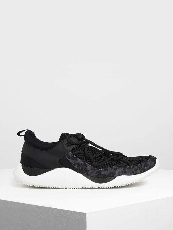 Drawstring Mesh Sneakers, Black, hi-res