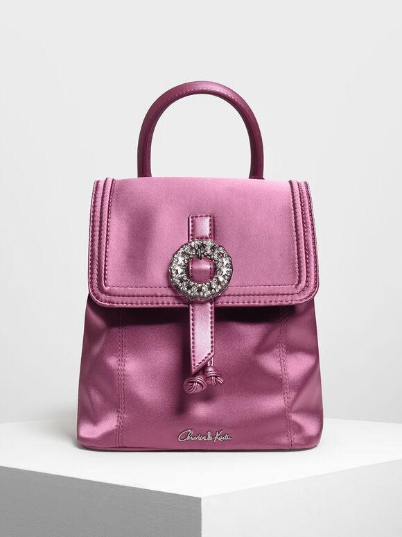 Crushed Gem Effect Buckle Detail Backpack, Pink, hi-res