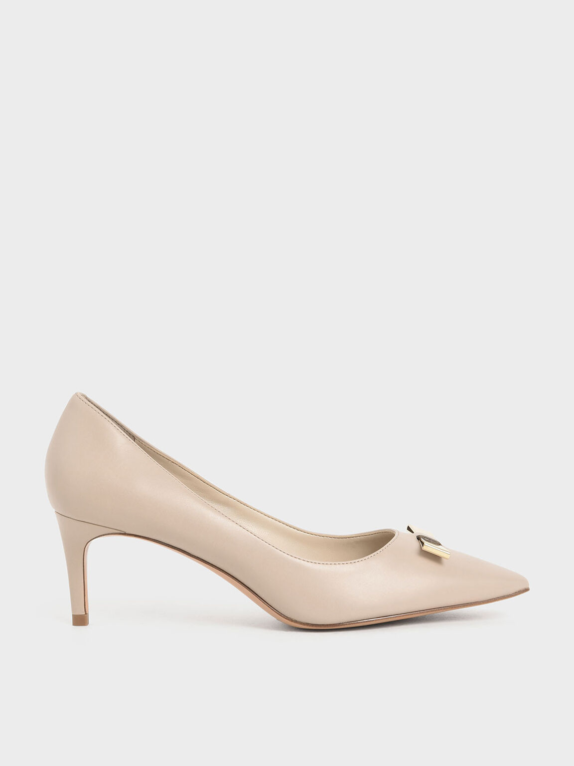 Metallic Bow Pumps, Nude, hi-res