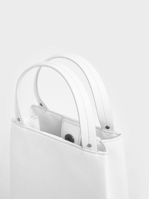Elongated Top Handle Bag, White