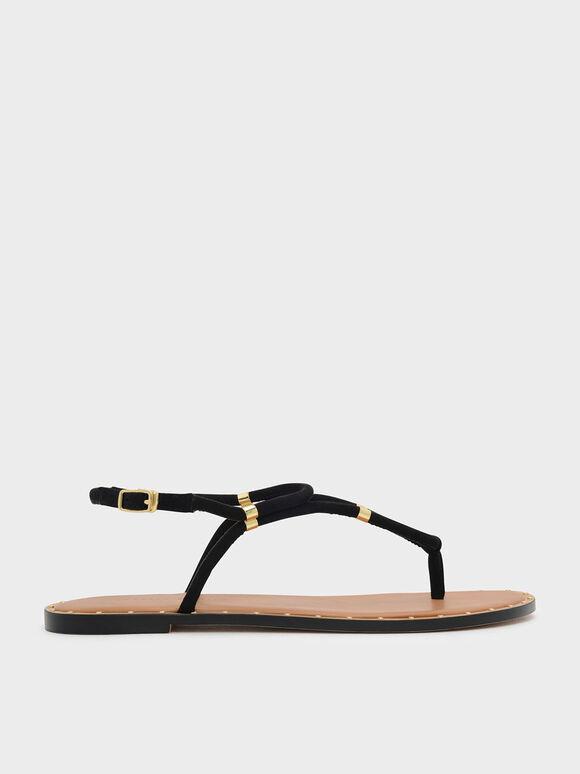 Gold Accents Thong Sandals, Black, hi-res