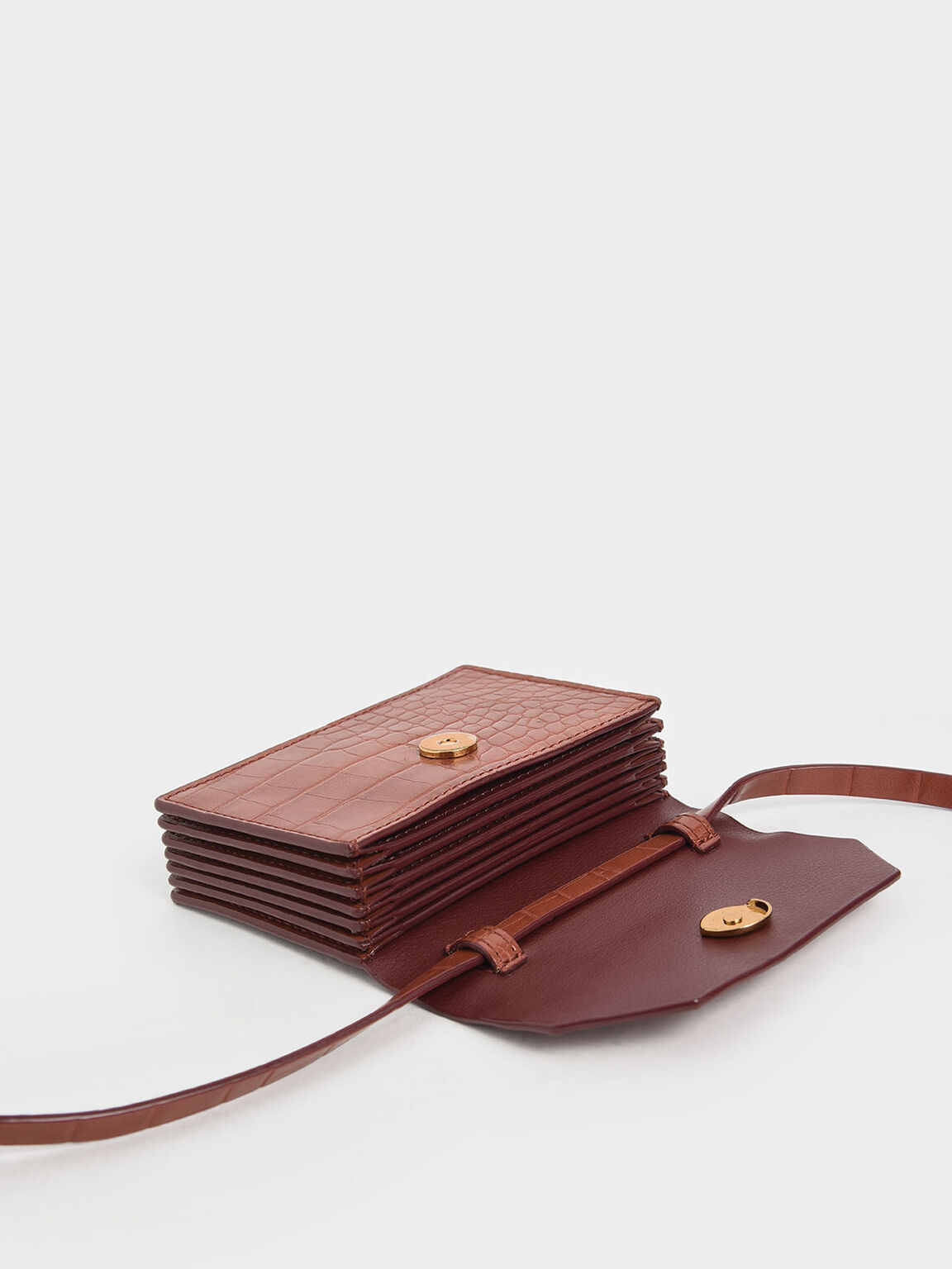 Croc-Effect Front Flap Card Holder, Clay, hi-res