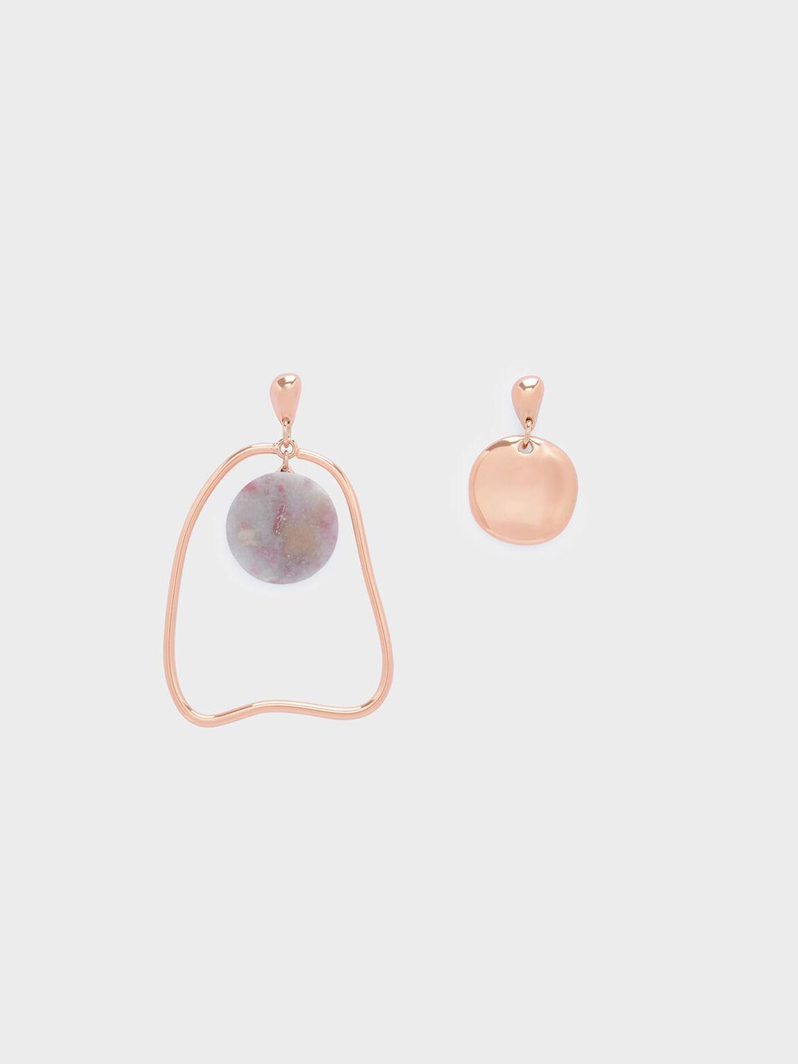 Semi-Precious Stone Mismatch Earrings, Lilac, hi-res