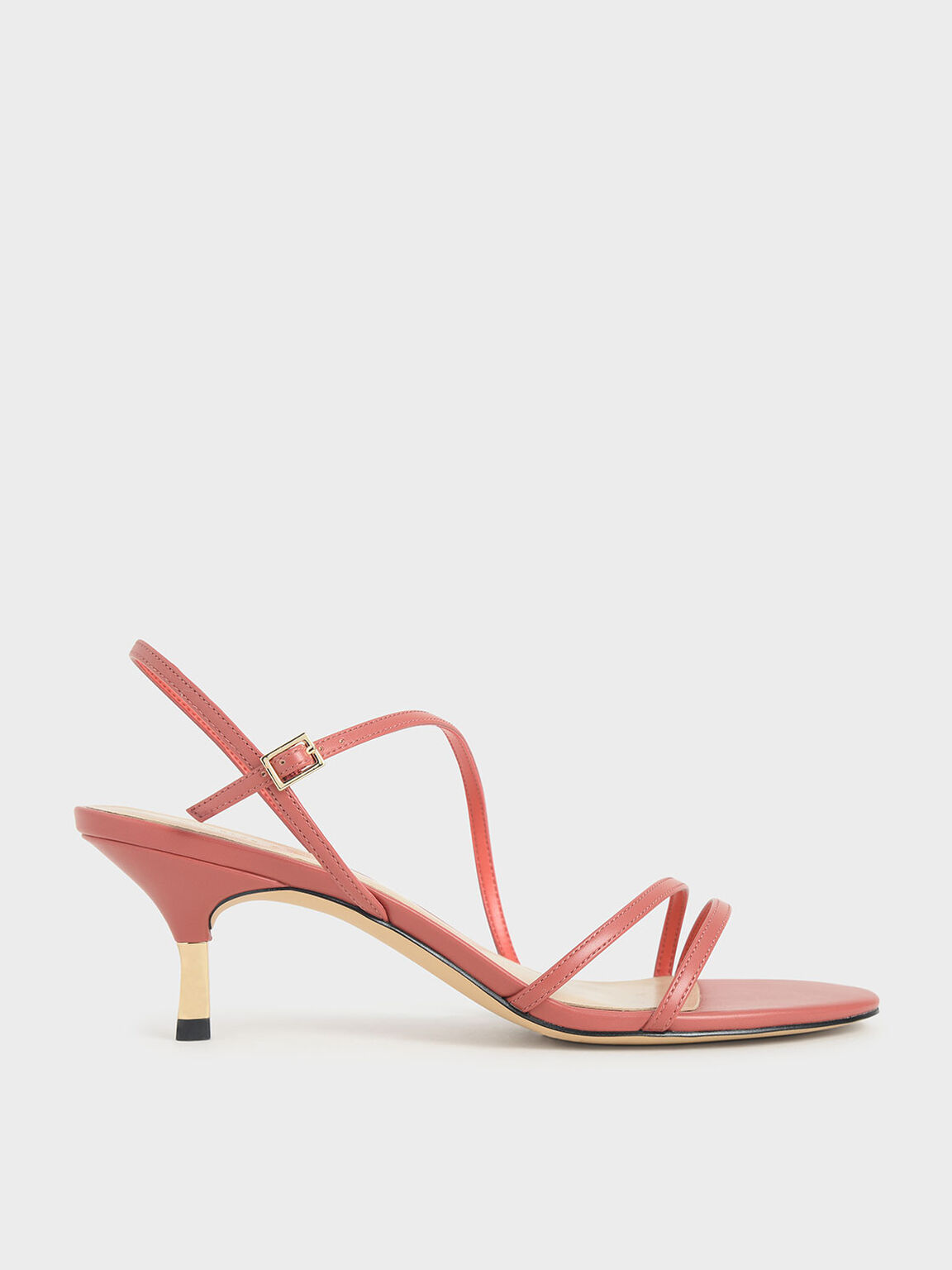 Strappy Metallic Heel Sandals, Coral Pink, hi-res