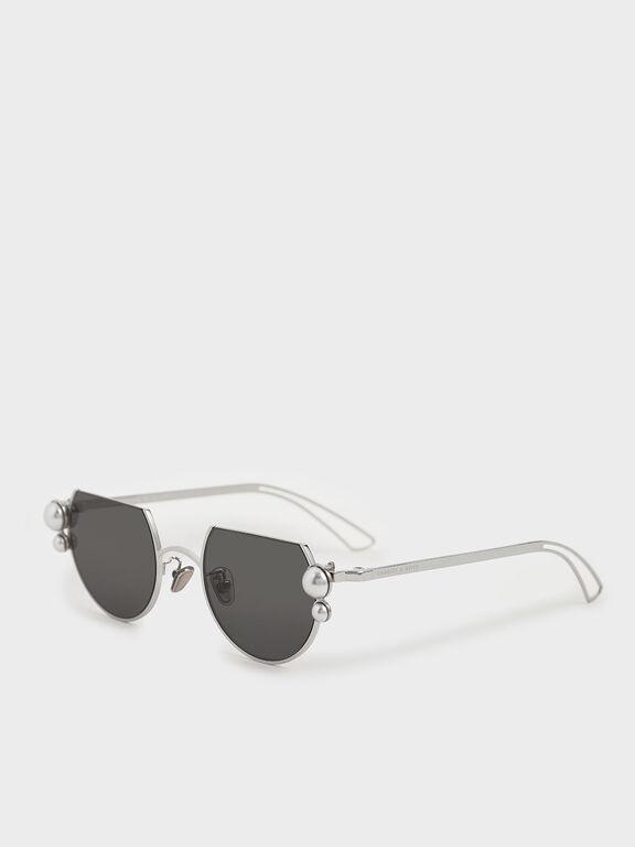 Swarovski® Crystal Pearl Embellished Cut-Off Round Sunglasses, Silver