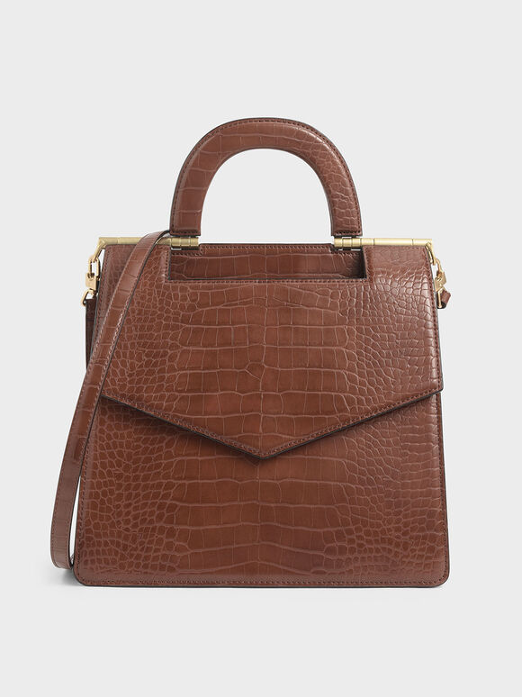 Croc-Effect Envelope Bag, Dark Brown, hi-res