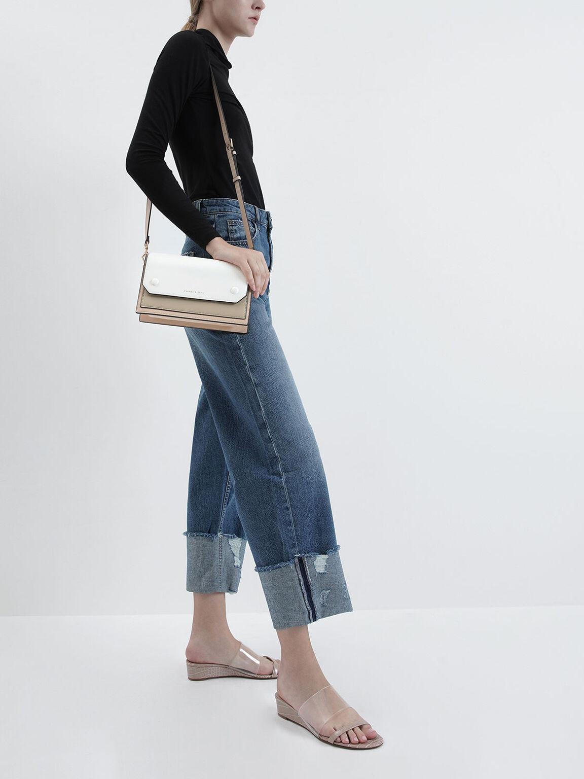 Two-Tone Mini Clutch Bag, Nude, hi-res