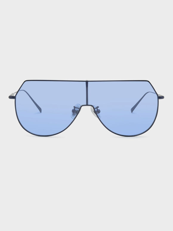 Metal Frame Aviator Shades, Blue, hi-res
