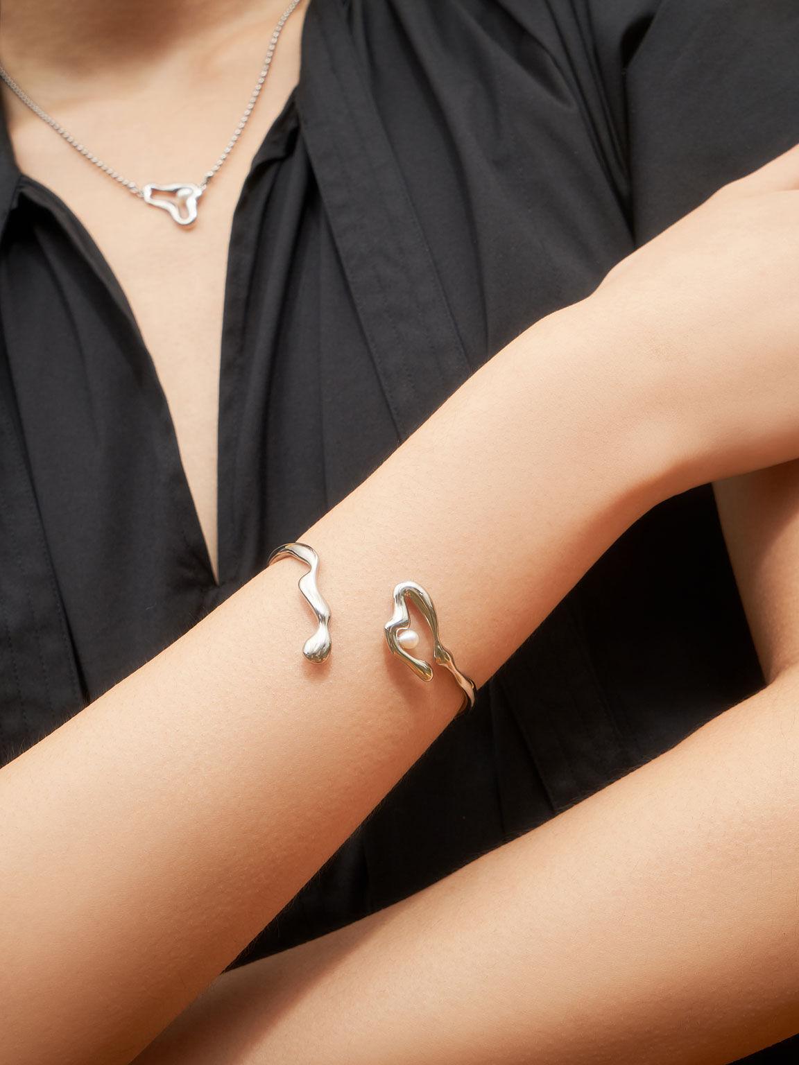 Sculpted Cuff Bracelet, Silver, hi-res