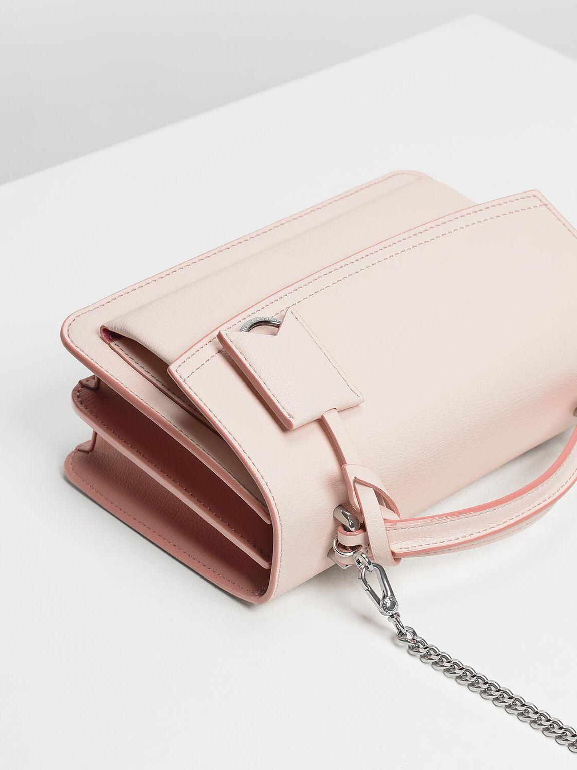 Single Flap Crossbody Bag, Light Pink, hi-res