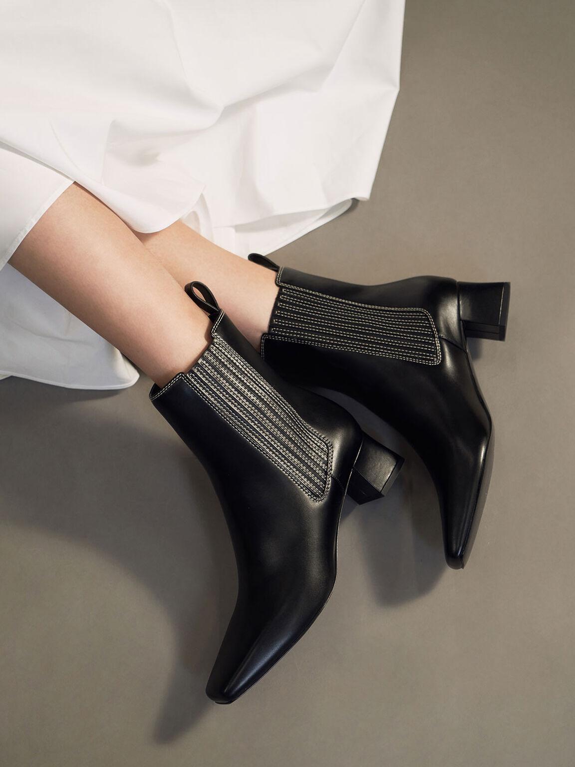 Stitch Trim Ankle Boots, Black, hi-res